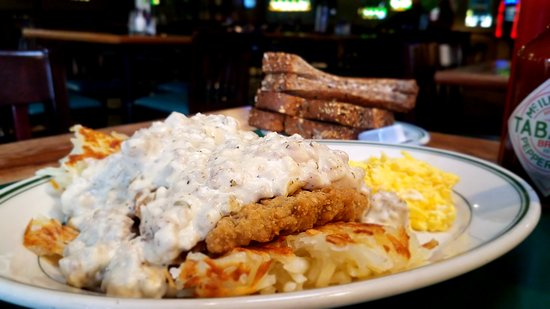 The Chicken Fried Steak is smothered in Sausage Gravy.  So good...