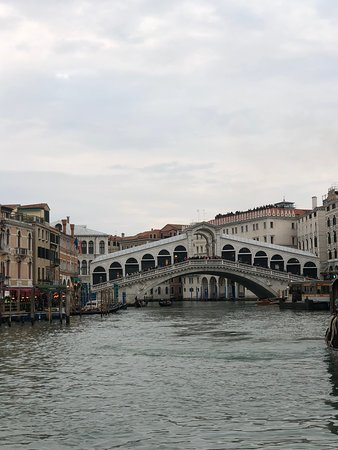 Approaching Rialto Bridge on ferry boat