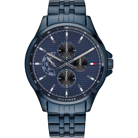 Tommy Hilfiger New Collection Of Gent`s Blue PVD Watch With Multifunction , 2 Years International Warranty , For 169€ .