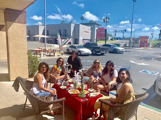 Enjoy delicious Mediterranean dishes and our fine Hookah out on our patio