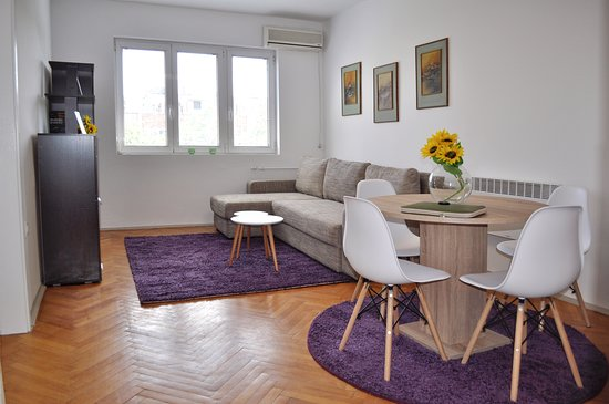 Skopje, Republic of North Macedonia: Living room and dining room.