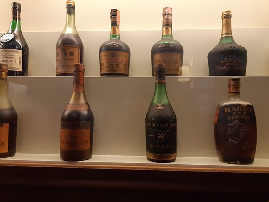 Very rare cognac on display behind a glass case.