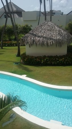 Swim up pool off of balcony.