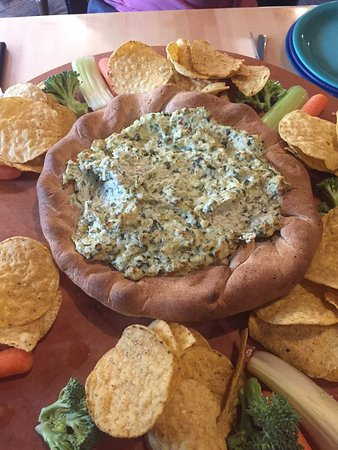 Beau Jo's Idaho Springs: Hearty Arty appetizer. Spinach and artichoke.