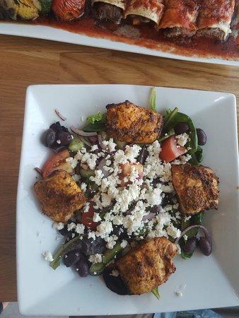 Greek Salad with Salmon Kabob