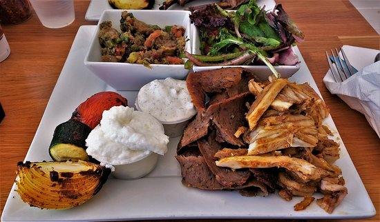 Duet Doner/Gyro with Eggplant Salad and House Salad