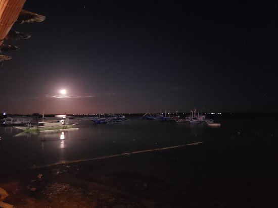 The Cove Live Seafood Restaurant : moonlight view from the restaurant
