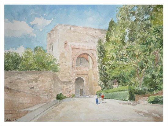 Esta acuarela que he pintado de la Puerta de la Justicia en Granada es uno de los lugares defensivos más conocidos de entrada al conjunto del la Alhambra. Su arco de herradura con doble acceso para más seguridad está muy bien conservado en un lugar lleno de vegetación que bien merece una visita.  Información y solicitud de encargos de cuadros escribiendo a: ruben@rubendeluis.com Tel. 616 46 21 58 (también WhatsApp)