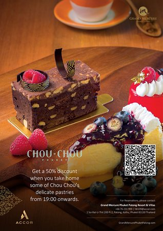 Grand Mercure Phuket Patong: Get a 50% discount when you take home some of Chou Chou's delicate pastries from 19:00 onwards.