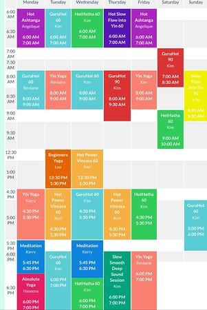 Gurucat Hot Yoga Schedule