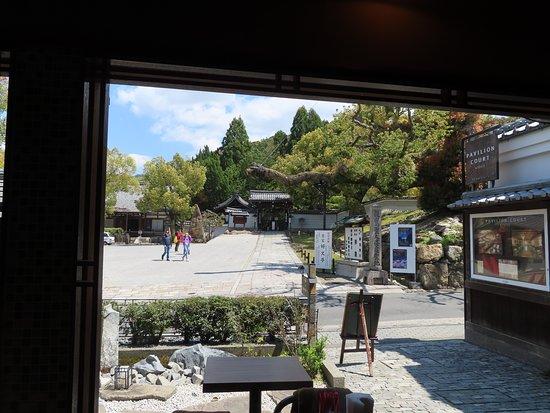カウンター席の窓越しに青蓮院門跡の正面の門が見えます。