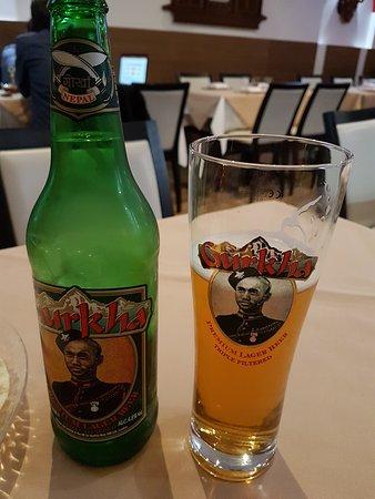 "Nepal Authentic Dining: ""Gurkha"" beer."