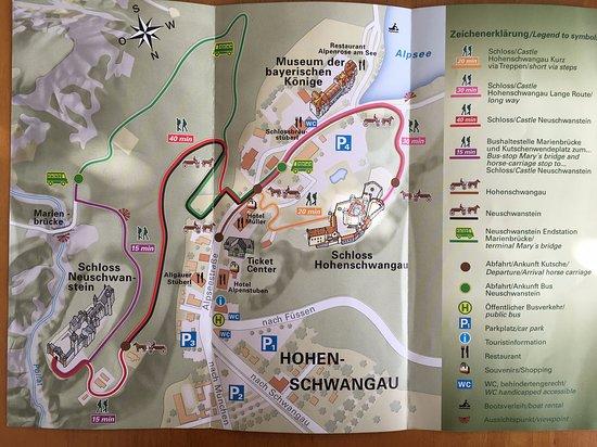 Schloss Neuschwanstein: お城へのアクセスマップ