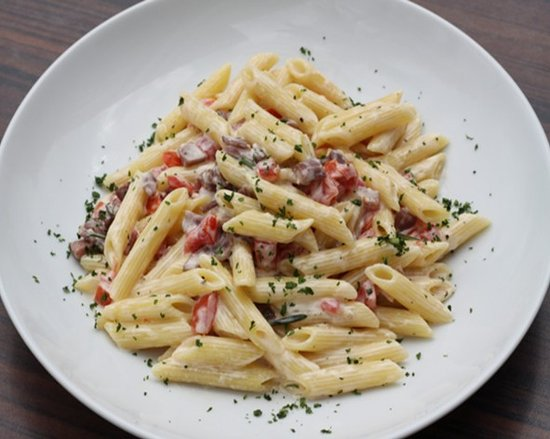 Piola: Penne Cividale Prosciutto crudo, cream, rosemary, diced tomatoes, grated parmesan cheese.