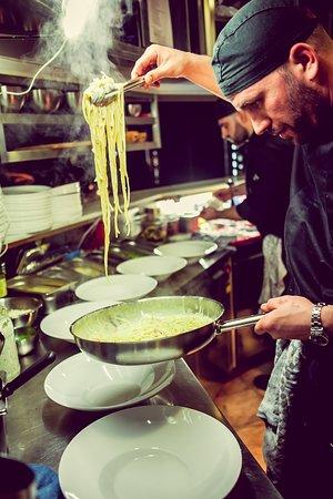 Our Chef serving his Carbonara