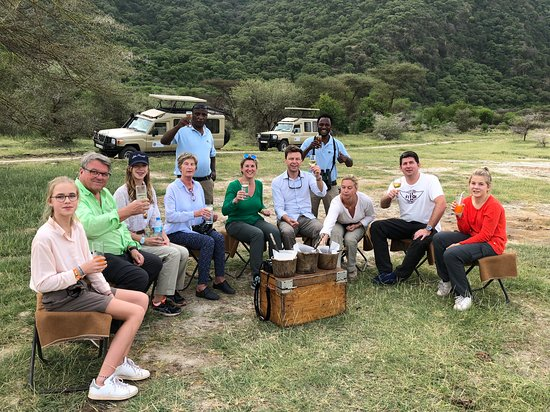 Out of Tanzania - Enjoy the bush cocktail party with snacks at the bottom of the African Great Rift Valley at Lake Manyara National Park in Tanzania