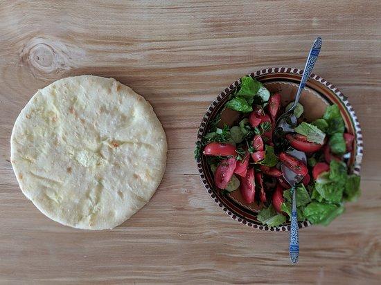 Breakfast: New made Khatchapouri and cumber- tomato salad