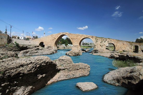 "Duhok, Iraq: Delal, Zakho Bridge, Pira Delal or Pirdí Delal (""The Bridge Delal"" in Kurdish), is an ancient bridge over the Khabur river in the town of Zakho, in the Kurdistan Region of Iraq. The bridge is about 115 metres long and 16 metres high."