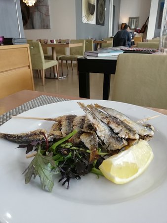 Grilled anchovies on salad.