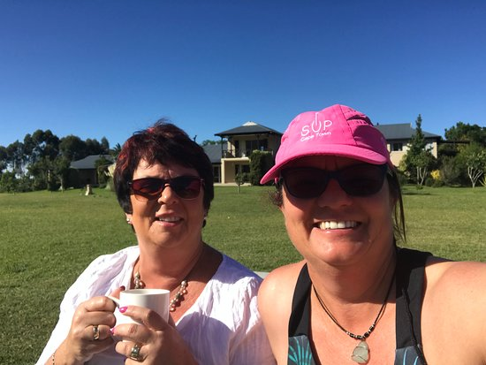 Debs and I on the lawns of the lodge having a little relax