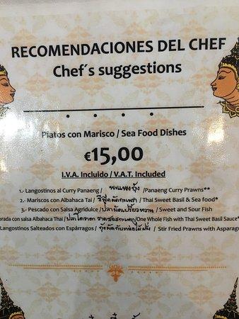 Siam: menu