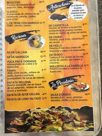 Pata Salada: menu