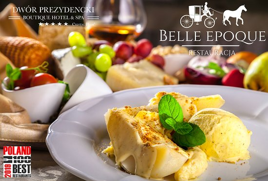 Belle Epoque Restaurant: Gruszka gotowana w syropie waniliowym z creme patissiere i lodami