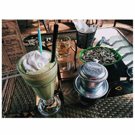 Ha Giang, Vietnam : Smoothy and Vietnamese coffee are made by Cafe Phuc