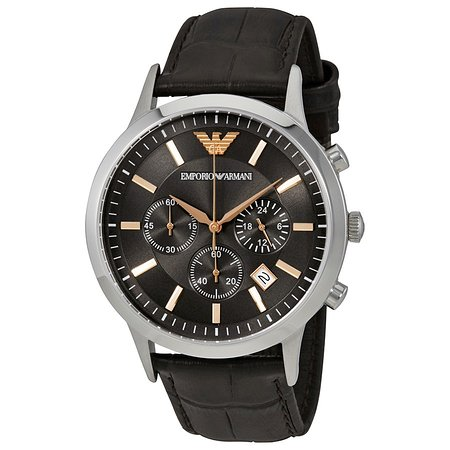#Emporio Armani Renato Gent`s Leather Strap #Watch With #Chronograph , 2 Years International Warranty , For 229 € Only