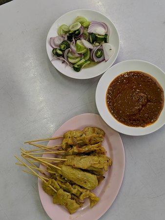 Evening Bangkok Food and Tuk Tuk Adventure: Pork satay on our Tuk Tuk adventure
