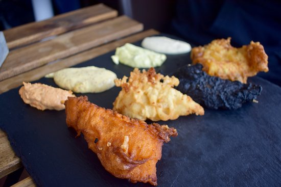 Baccalà/Cod in four batters and sauces