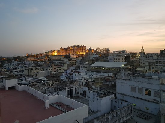 View from Rooftop restaurant with City Palace in the background