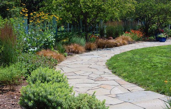 New Brunswick, NJ : Stone path through the Edwin J. and Ida M. Otken Memorial Garden