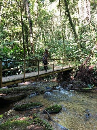 ponte para acesso a uma cachoeira