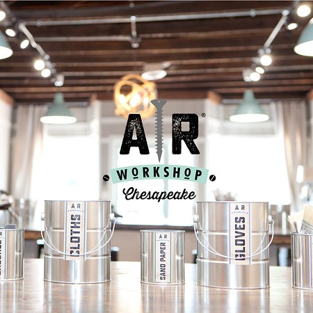 AR Workshop Chesapeake is a boutique DIY studio that offers hands-on classes for creating custom and charming home decor from raw materials.