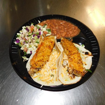 Fish Tacos with beans and cabbage salad