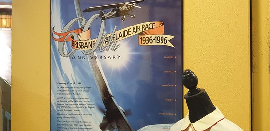 Sir Reginald Ansett Transport Museum Hamilton Vic poster 1996 Brisbane to Adelaide Air Rcae