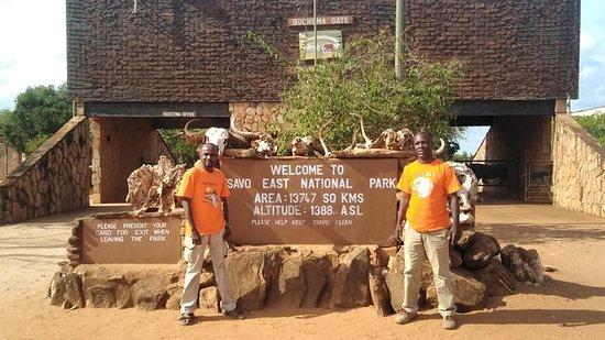Tsavo National Park East, Kenya: Pathway safaris team at the main gate to Tsavo East National park