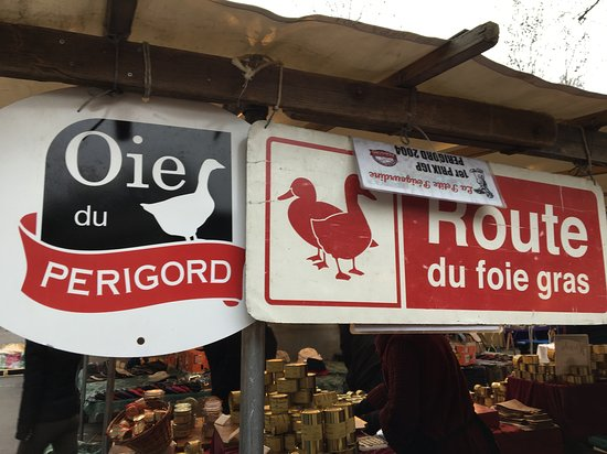 Foie gras stand at market.