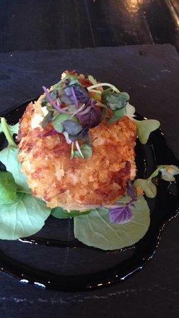 Mint 29: One of a Trio of Crab Cakes Dipped in Japanese Style Bread Crumbs Seared and then Baked with Sweet Chili Wasabi.