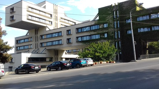 TBILISI.CONTEMPORARY ARCHITECTURE Bank of Georgia Headquarters  Built-in 1975 by architects Giorgi Chakhava and Zurab Jalaghania.Being named as one of the best examples of constructivism style, this building has conferred an Immovable Monument status under the National Monuments Acts.