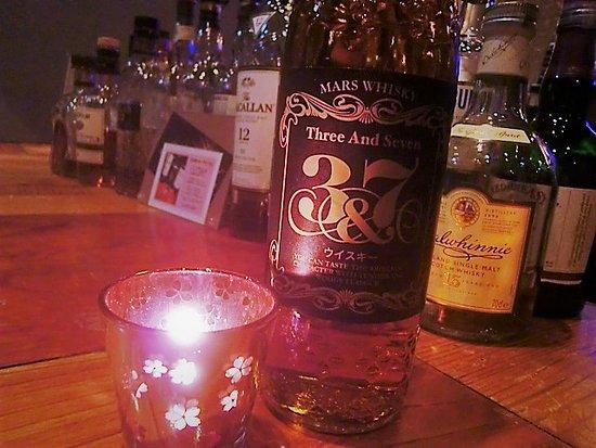 Whisky Pub Distill: 本坊酒造のマルスウイスキー、「3&7」。 モルト7年、グレーン3年の熟成です。