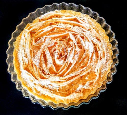 tarta griega con flan de vainilla casera