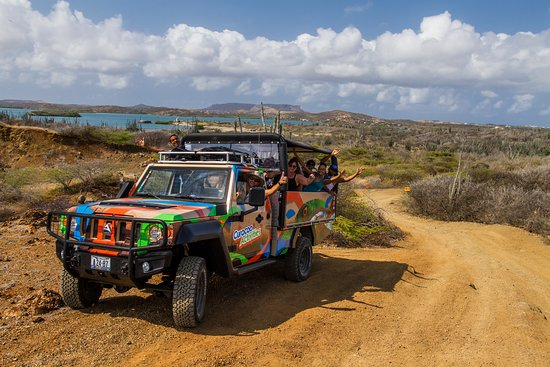 Curacao Activities: Passing by St Joris Bay of our Jeep and Snorkel Adventure Tour