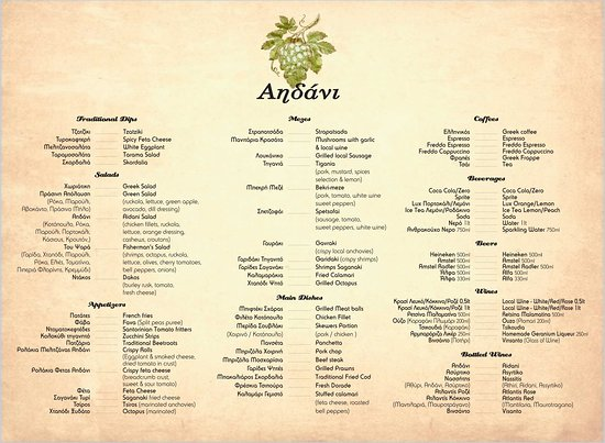 Vourvoulos, Hy Lạp: Our Menu for 2019 Eat, Drink and Feel like the Greeks! You are Welcome to our traditional Family Owned Restaurant!