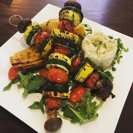 Vegan friends we 've got you sorted! Try our vegan kebab served with basmati rice, roasted potatoes and finished with balsamic vinegar glaze!  #mazidc #washingtondc #dcfoodie #lunch #dinner #dceats #dcrestaurants #dmvfood #vegan #veggies #kebab