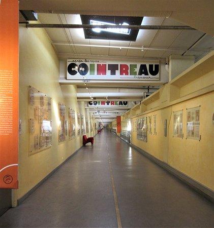 long hall with displays