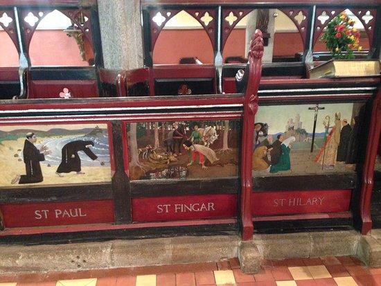 St Hilary Church: Decorations by Newlyn School Artists inside the church 