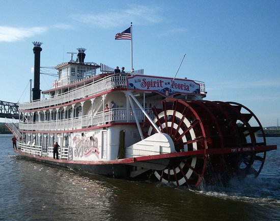 Spirit of Peoria Sightseeing, Themed, and Overnight Cruises available!  Docked at the foot of Main Street on Peoria's RiverFront.