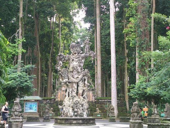 Sangeh monkey forest, tropical rain forest as the natural habitat of hundreds macque monkeys